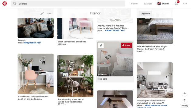 Pinterest to show ideas